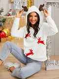 Christmas New Year Dear Print Kangaroo Pocket Hoodie