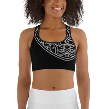Load image into Gallery viewer, Theralicious Racerback Yoga Sports Bra: Black with White Design, Mindful Mandalas and Positive Psychology Affirmations