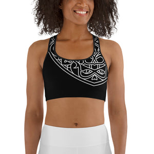 Theralicious Racerback Yoga Sports Bra: Black with White Design, Mindful Mandalas and Positive Psychology Affirmations