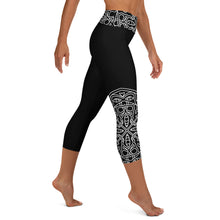 Load image into Gallery viewer, Theralicious Yoga Capri Leggings: Black with White Design, Mindful Mandalas and Positive Psychology Affirmations, High Waist, Mid-Calf