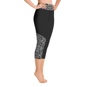 Theralicious Yoga Capri Leggings: Black with White Design, Mindful Mandalas and Positive Psychology Affirmations, High Waist, Mid-Calf