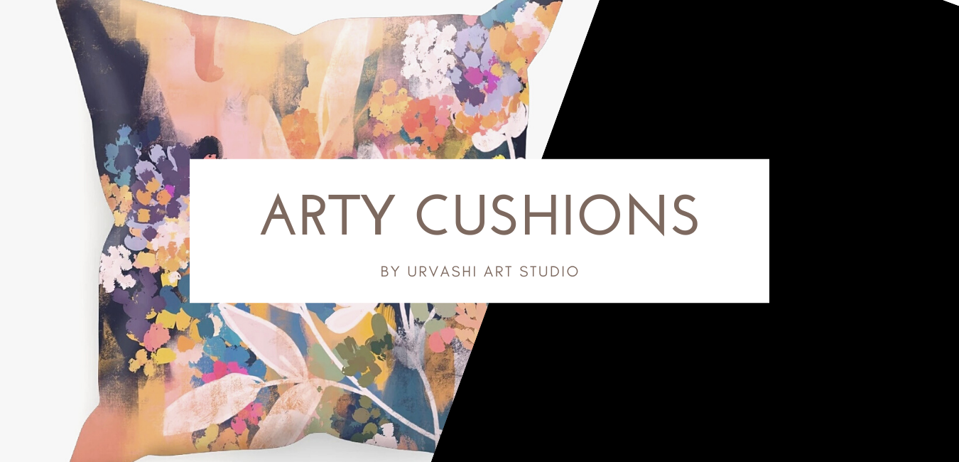 No space on  the walls for artworks? Introducing Arty Cushions - Urvashi Art Studio