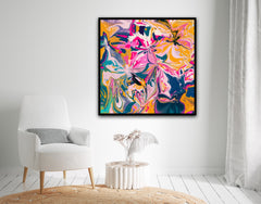 Abstract Art - Pink, Yellow, Orange, Teal and Blue Colours - Urvashi Art Studio