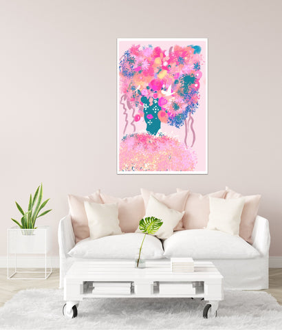 Pink Art print with woman face for Boss Woman