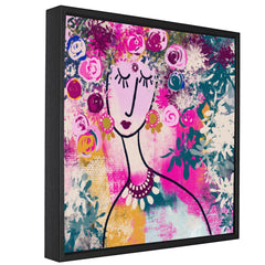 Abstract woman face with florals canvas art print
