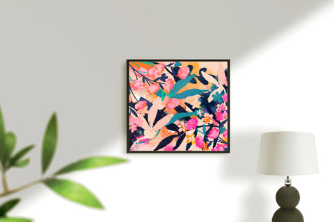 Pink, orange, blue floral abstract art for eclectic home decor