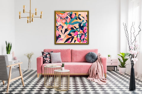 Pink, orange, blue floral abstract art for eclectic home