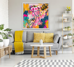 Abstract Woman Face Artwork- Bright Pink, Orange, Yellow and Teal Colours- Urvashi Art Studio