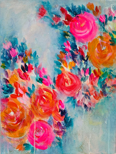Colourful florals on Dramatic background- Acrylic on Canvas - Urvashi Art Studio