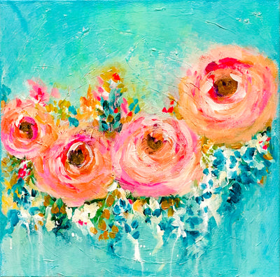Colourful roses painting on Canvas - Urvashi Art Studio