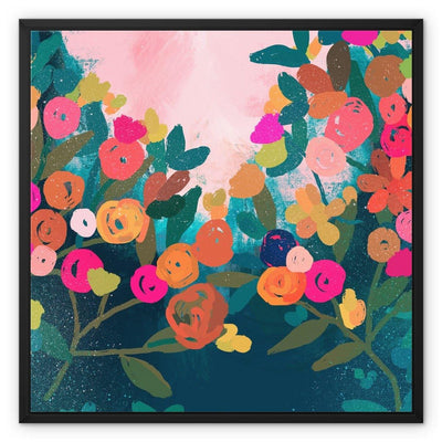 Floral Garden Framed Canvas - Urvashi Art Studio