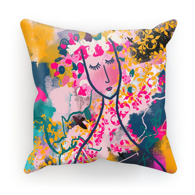 Past meets Future- abstract woman face- pink, yellow and teal Cushion - Urvashi Art Studio