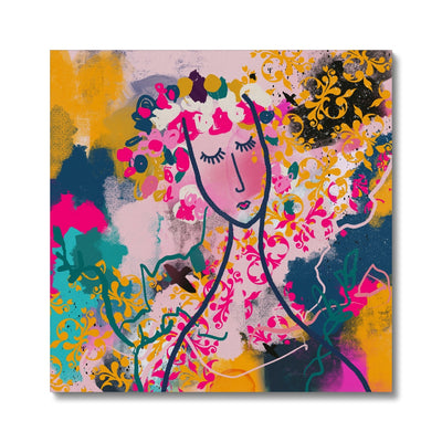 Past meets Future- abstract woman face- pink, yellow and teal Canvas - Urvashi Art Studio