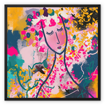 Past meets Future- abstract woman face- pink, yellow and teal Framed Canvas - Urvashi Art Studio