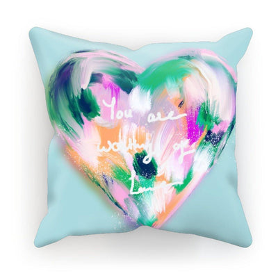 You are worthy of love- Heart  Cushion - Urvashi Art Studio
