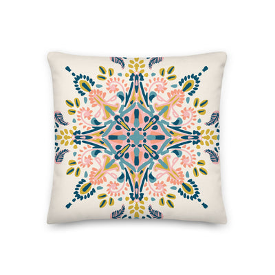 Pastel colour mandala pattern Premium Pillow - Urvashi Art Studio