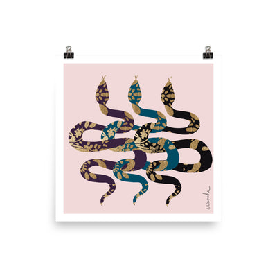 Three snakes with gold foil texture Poster - Urvashi Art Studio