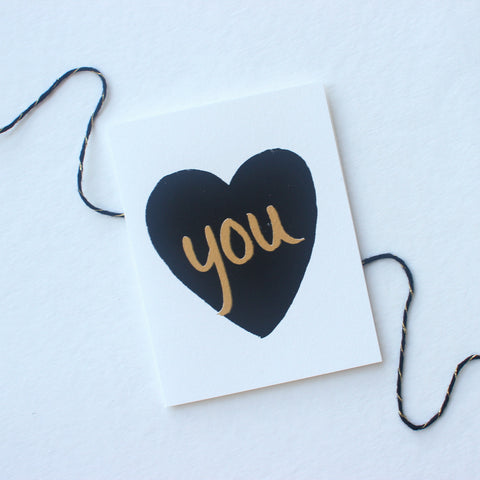 Black & Gold Heart You card