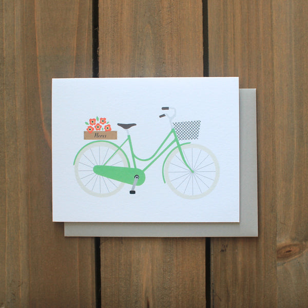 Green Bicycle Thank You card