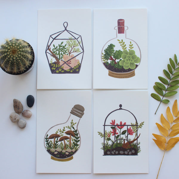 Terrarium postcards set