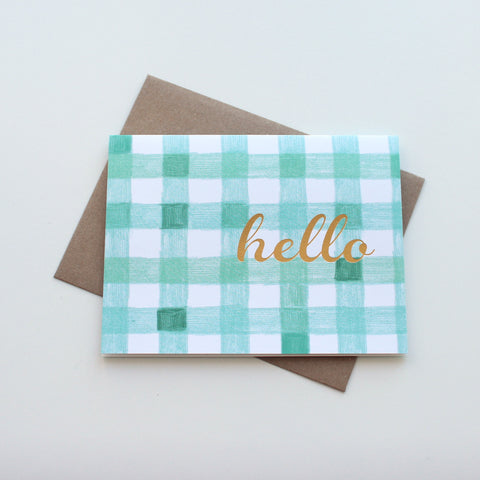 Checkered and Gold Hello card