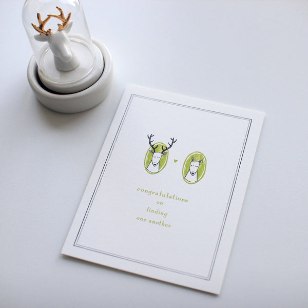 Deer Heads Mr & Mrs card