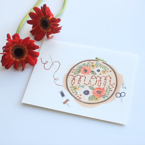 Embroidered Mom card