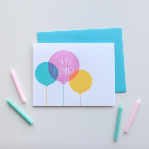 Colored Birthday Balloons card