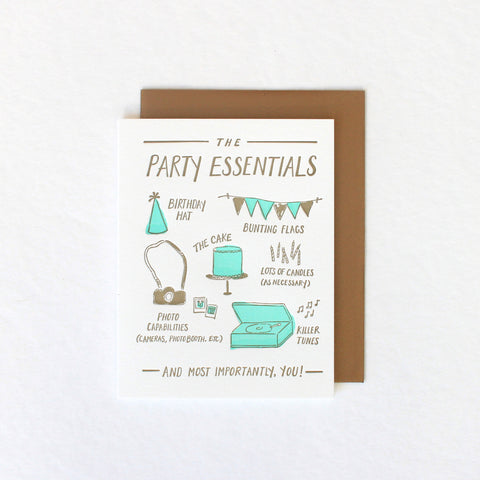 Birthday Party Essentials card
