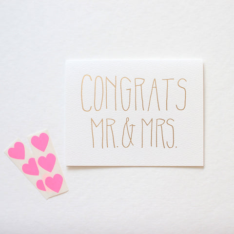 Foil Congrats Mr & Mrs card
