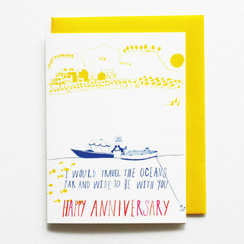 Two Lovers at Sea Anniversary card