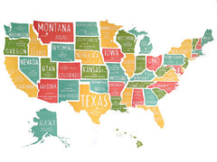 US Map Large Poster