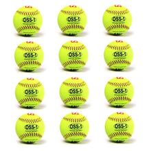 "Load image into Gallery viewer, OSS-1 Practice softball ball, size 12"", yellow, 1 dozen"