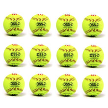 "Load image into Gallery viewer, OSS-2 Practice softball ball, soft touch, size 12"", white, 1 dozen"