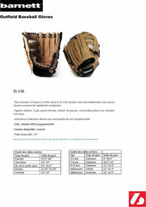 SL-130 Leather baseball glove, outfield, size 13, Brown