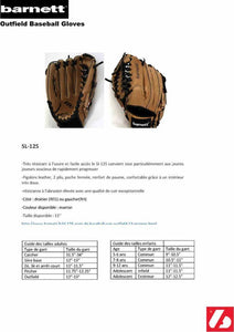 SL-125 Baseball gloves in leather outfield, size 12.5, Brown