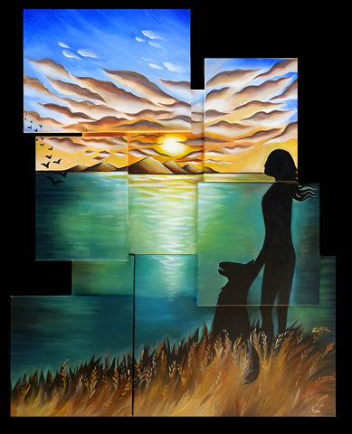The Dog Walker  Mosaic Artist Proof 32x40