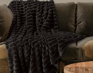 Ribbed Faux Fur Throw