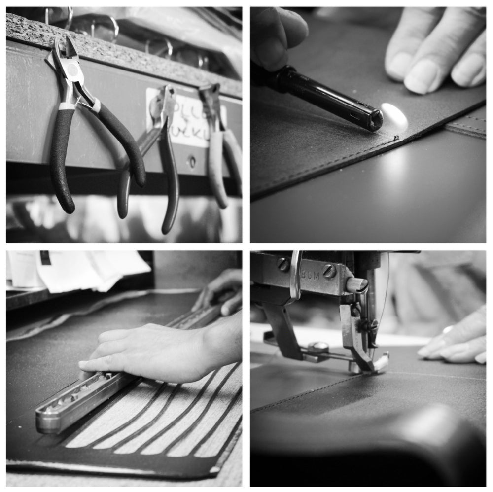 Images of leather bags being made in the workshop