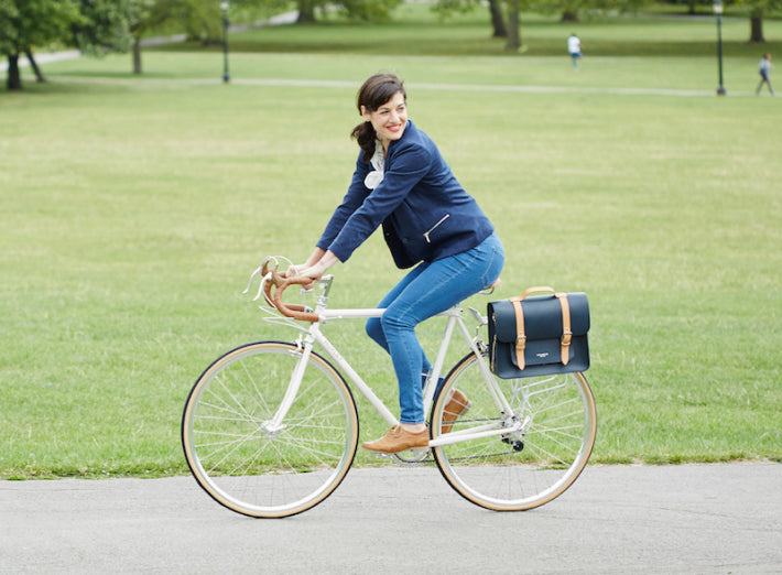 Navy Leather pannier bag on a bicycle