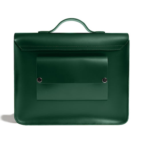 Load image into Gallery viewer, Green leather satchel cycle bag back view
