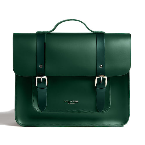 Green leather satchel cycle bag front view