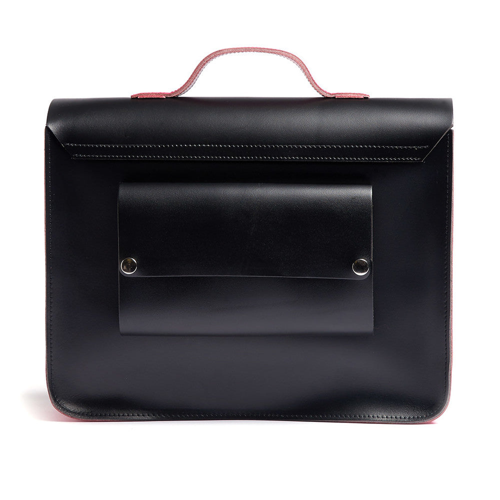 Load image into Gallery viewer, Pink and Black Leather Satchel Cycle Bag Back