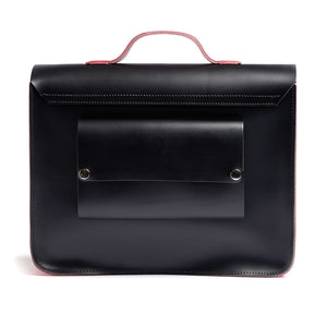Load image into Gallery viewer, Pink and Black Leather Satchel Bike Bag Back