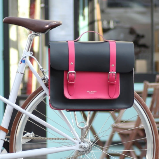 Load image into Gallery viewer, Pink and Black Leather Satchel Cycle Bag on bicycle