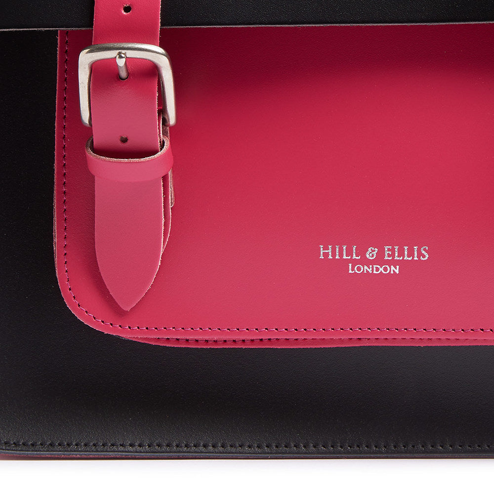 Pink and Black Leather Satchel Cycle Bag with detail of Hill & Ellis logo