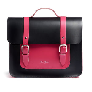 Load image into Gallery viewer, Pink and Black Leather Satchel Bike Bag Front