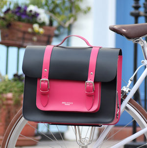 Pink and Black Leather Satchel Cycle Bag on bike