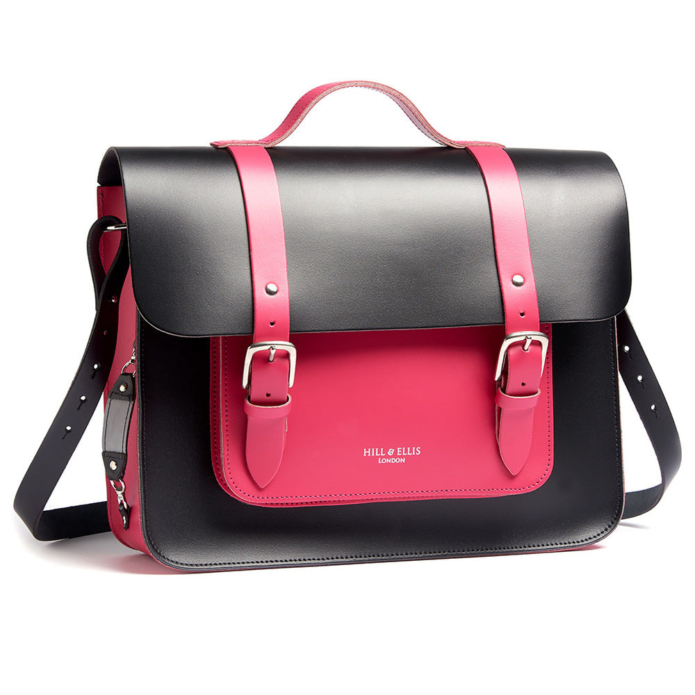Load image into Gallery viewer, Pink and Black Leather Satchel Bike Bag with a Shoulder strap