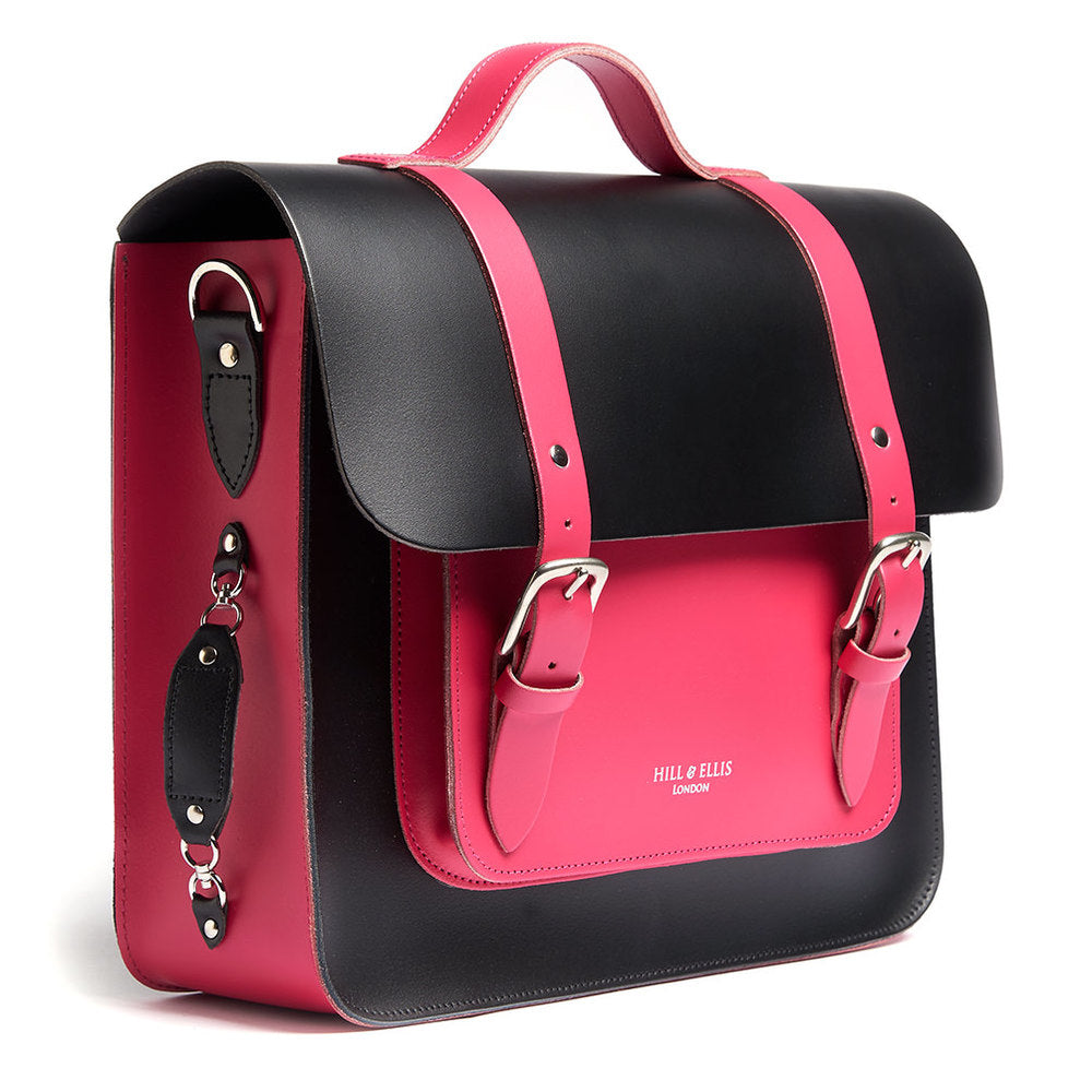 Load image into Gallery viewer, Pink and Black Leather Satchel Bike Bag Side